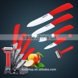 "New kitchen Ceramic knife set, 6pcs Gift Set 3""+4 ""+5 ""+6 ""+Ceramic peeler +Acrylic holder cooking tools Ceramic knives set"