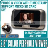 "Camera Door EQUES Photo Video 0.3MP Color SD Card 2.8"" Digital Peephole Viewer"