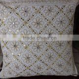 Mirror Work Cushion Cover, Zari Work Outdoor Cushion , Traditional cushion covers, 40 x 40 Cms Size, Zari & hand Mirror Work Cus