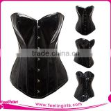 Black Overbust Leather Steel Boned Corsets For Women