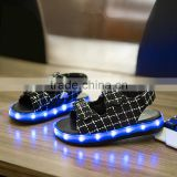 Cool version Sandal led light up kids shoes with Black/grey color led kids shoes