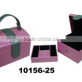 Magnetic luxury pink leather Jewelry Box with handle/tray