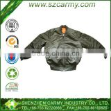 spiricle grain lower hem washed cotton filling material and PVC coated fabric MA1 flight jackets