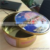 factory directly CYMK print OEM Delicate biscuit tin box round custom tin metal cookie box wholesale