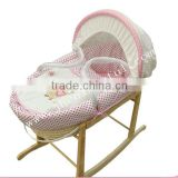 hot sale baby swinging bassinet with wood stand