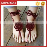V-976 Fashion Foot Jewelry cotton crochet anklet with toe ring ankle bracelet indian foot jewelry