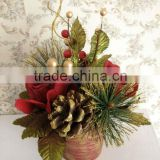 "Christmas Flowers -8"" High Christmas Rose Pot"
