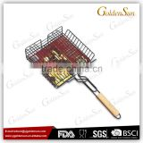 Hot Sale Non-stick Vegetable BBQ Grilling Basket With Wooden Handle