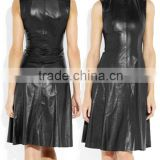 Fashion Women Black Bandage Dress Ladies' PU Dress Leather Short Sleeve Sexy Party Bodycon Women's O Neck Clubwear Midi Dress