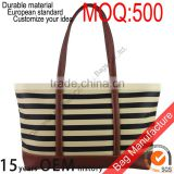 Wholesale Factory Price NULL Brand Reversible stripe PU Leather Handbag for lady tote bag                                                                         Quality Choice
