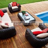 Wicker Rattan bamboo Outdoor Patio Sofa Set (1.2mm alu frame with powder coated,10cm thick cushion with 250g polyester)