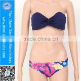 Cheap bikini with beautiful bandeau plain bikini tops wholesale and scrunch bikini bottom