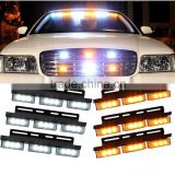 54 LED Amber & White Emergency Vehicle Strobe Lights Car Truck Flash Warning Lights for Front Grille/Deck