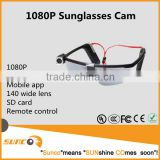 1080P hd sport glasses camera wifi with sunglasses camera style and remote control mobile app