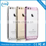 Eco-friendly Plating+Laser Cutting PC Phone Case for iPhone 6, Crystal Bling Element Back Cover for iPhone 6s