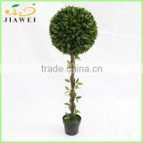 fake indoor artificial green topiary bay ball trees wood trunk