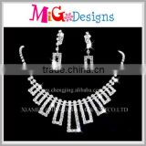 Wholesale Min Order Fashion Full Crystal White Gold Plated Necklace Earrings Bride Jewelry Set
