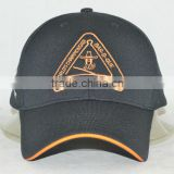 Guangzhou hat factory professional custom 6 plate / 100% polyester/embroidery/trademark/black baseball cap