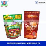 mixed fruit chips bag / dried food bag / stand up zipper bag with registered matte printing