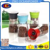 glass spice jar Glass pepper grinder/pepper mill with plastic lid
