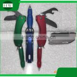 Multi-function ball pen fold pen with bottle opener and knife customer LOGO print ball pen with keychain light 5 in 1