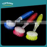 Toprank New Design Household Colorful Round Head Plastic Dish Pot Scrub Brush With Handle For Kitchen Cleaning