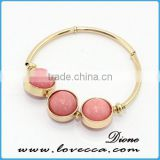 Mutli-color Crystal Natural Stone Bracelet Bangles for Women Natural Druzy Stone Gold Plated Cuff Bangles
