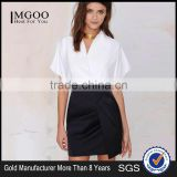 MGOO 2015 Cheap Price OEM Services Women Black Wrap Office Skirts Mini Above Knee Length Wraparound 15144A413