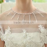One tier Shawl 2016 Soft tulle White French lace Wedding Dress Accessories Wedding Jacket Wedding Bolero bridal coat