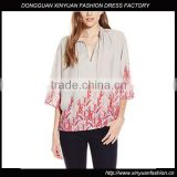 Womens 3/4 Sleeve Printed Top lady casual blouse designs chiffon blouse