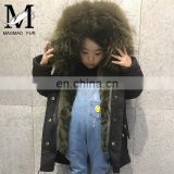 High Quality Manufacture Fashionable Winter Rose Red Rex Rabbit Fur Lining Baby Fur Parka Coat