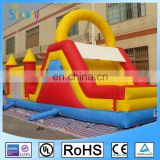 Yellow Blue Red Giant Inflatable Games Moonwalk Combo Bouncers With Slide And Climbing Wall