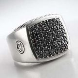 Designs Inspired Sterling Silver DY Pave Black Diamond Plate Men Ring
