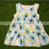 2016 Baby wholesale boutique clothing sunflower frocks new born dress fashion cute western girls baby clothing dress