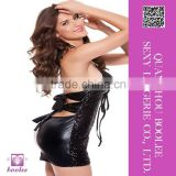 Unique design wholesale sexy shiny clubwear black mini dress for woman