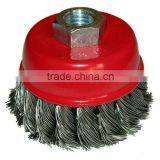 twisted knot wire cup brush,CEPILLO DE COPA ENTORCHAD
