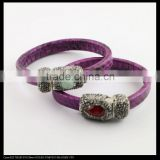 LFD-B0036 Purple Snakeskin with Rhinestone Paved Gemstone Magnetic Clasp Snakeskin Bangle,Charm Jewelry Cuff Bangle Bracelet