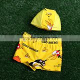 Promotional fashion yellow cartoon red birds little boy swimming trunk cap with kids bathing swimwear child swimming shorts