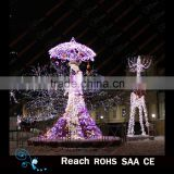 wholesale christmas street led decoration motif lights 3d umbrella and reindeer outdoor decoration