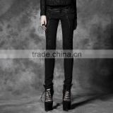 K-172 Top Sale Good Elastic Black and Copper Tight Denim Pants with Fashion Skull Printing