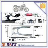 DZM200 spare parts for DEMAK motorcycle, motorbike rear shock absorber, rear fork assy, chain slider, motorcycle roller chain