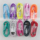 Colorful Fabric Braided nylon Micro USB cable for Samsung galaxy