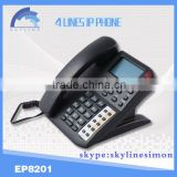 4 lines IP phone cordless voip phone sip