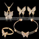 Fashion Brand Cute Butterfly Gold Plated Rhinestone Necklace Stud Earring Bracelet Ring Set for Women Wedding Jewelry Set