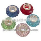 Glass European Beads, Mixed Color, Copper Single Core in Silver Color(GDA002)