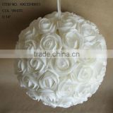 "2014 Popular Artificial PE Flower 14"" Artificial PE Wedding Rose Hanging Ball"