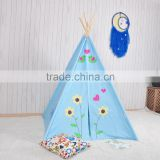 4-Walls blue base with bird applique Teepee Kids Tent Wigwam Indoor Tipi Playhouse Playroom