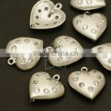 Sparkling Heart Connector,Heart Pendant with Cubic Zirconia Stones,Heart Necklace Pendant,Beautiful Link/13 x 15mm
