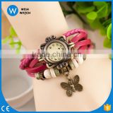 New Design China Cheaper 2016 Women Bracelet Decoration Quartz Wrist Watch Design Butterfly Ornaments Leather Gift VW015
