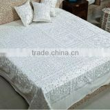 Wholesale hand embroidered Indian Bedspread beautiful bohemian mirror work embroidery